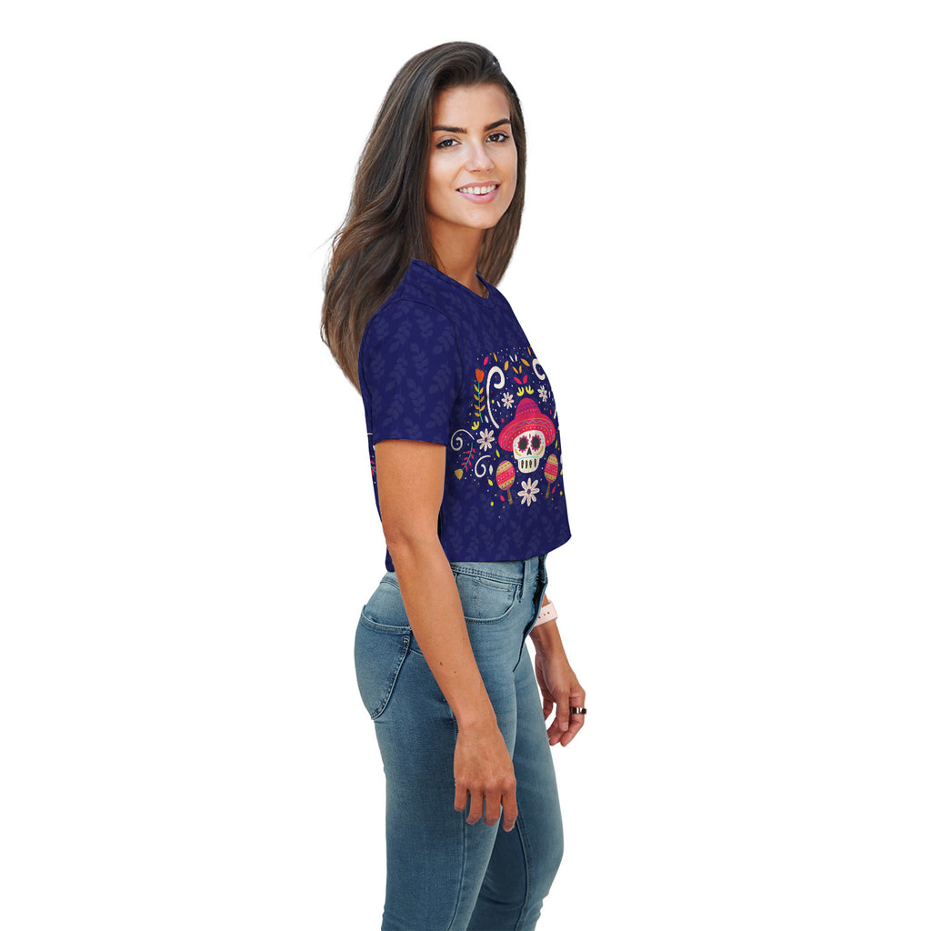 Betty Skull Halloween Theme Floral All Over Print Crop Top - Woven Trends