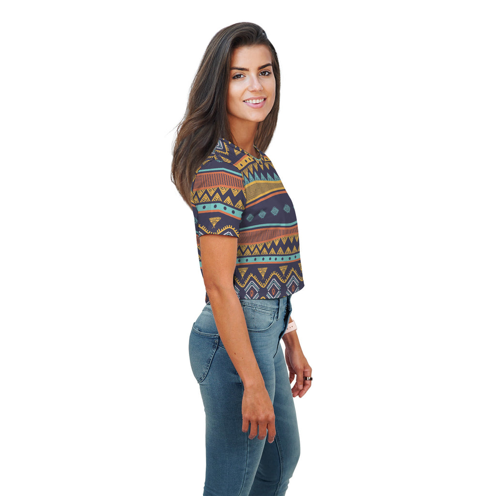 Maleah Tribal Pattern Print Crop Top - Woven Trends