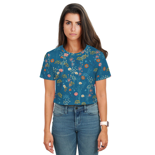 Jasmine Scattered Floral Print Blue Crop Top - Woven Trends