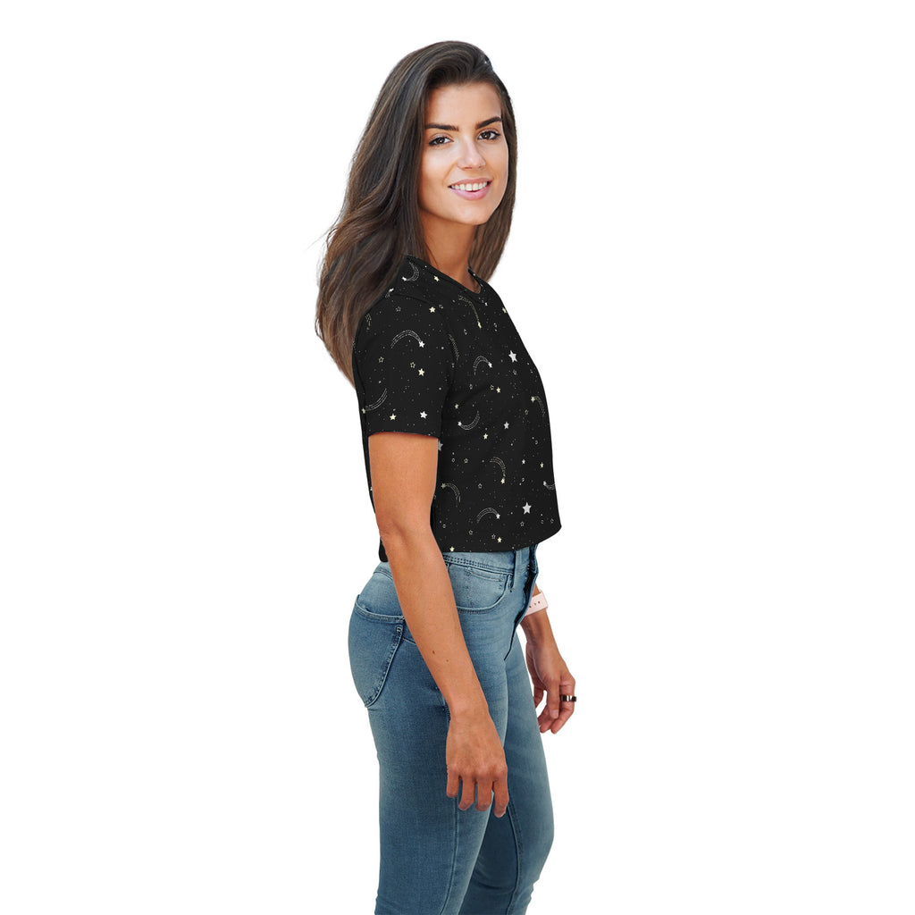 Amy Stellar Mix All Over Print Crop Top - Woven Trends