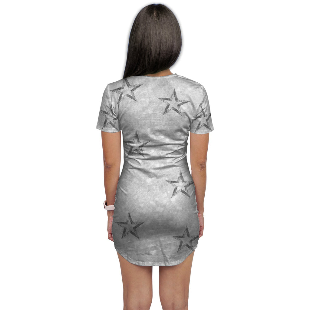 Alma Silver Glitter Print Effect Shirt Dress - Woven Trends
