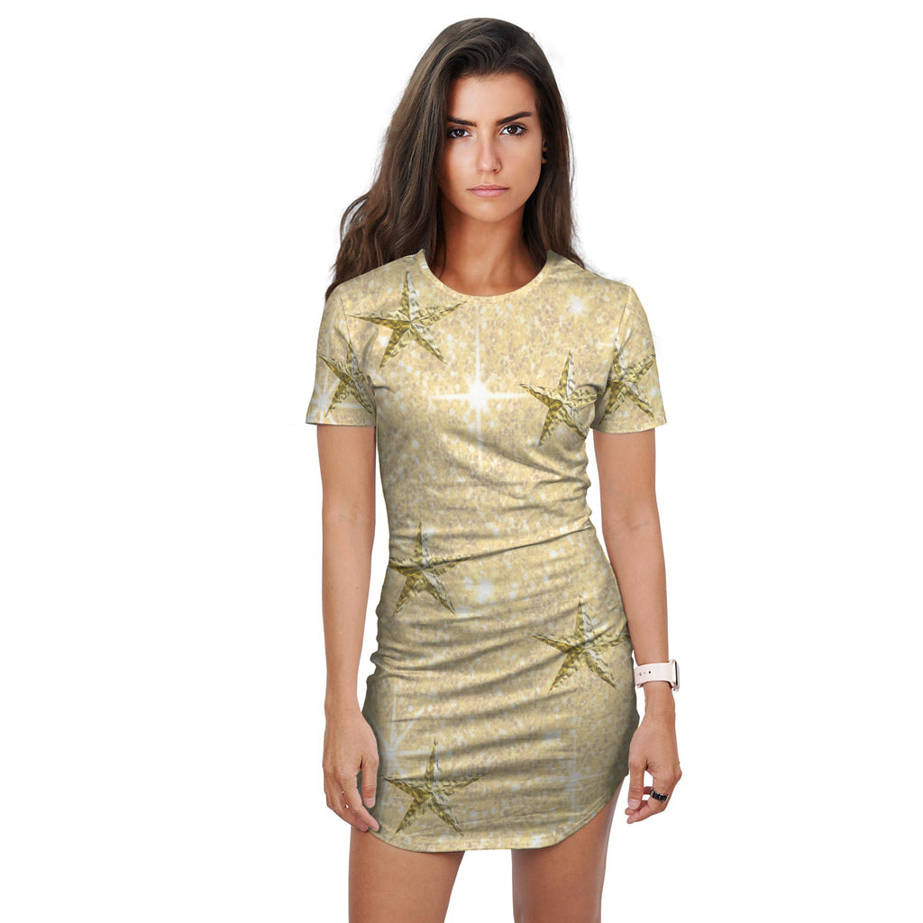 Alma Gold Glitter Print Effect Shirt Dress