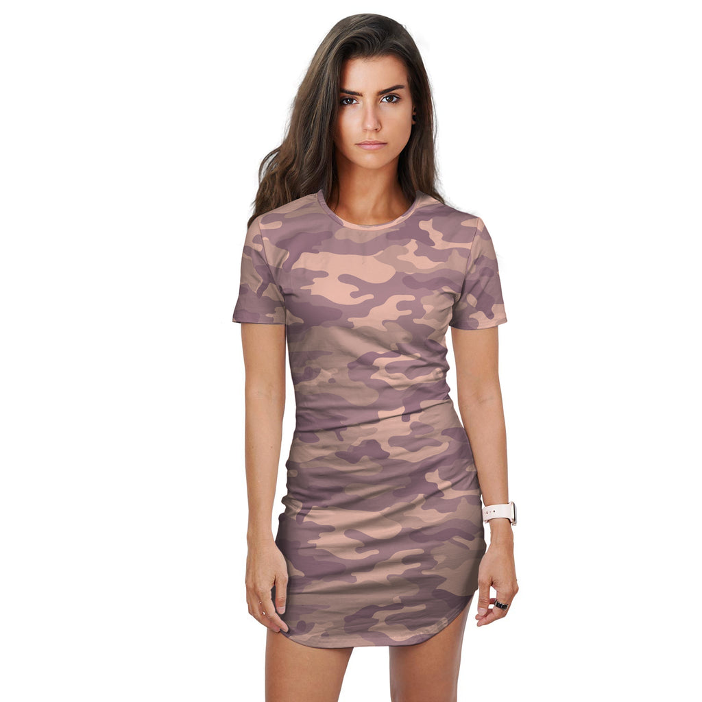 Ayele Purple Pink Mix Camo Print T-Shirt Dress