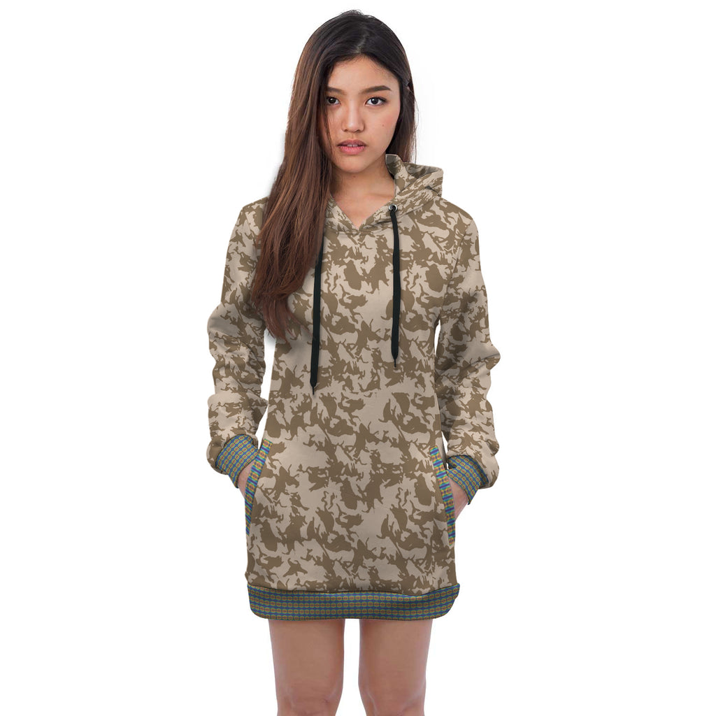 Nabila Camouflage Mix Print Hoodie Dress