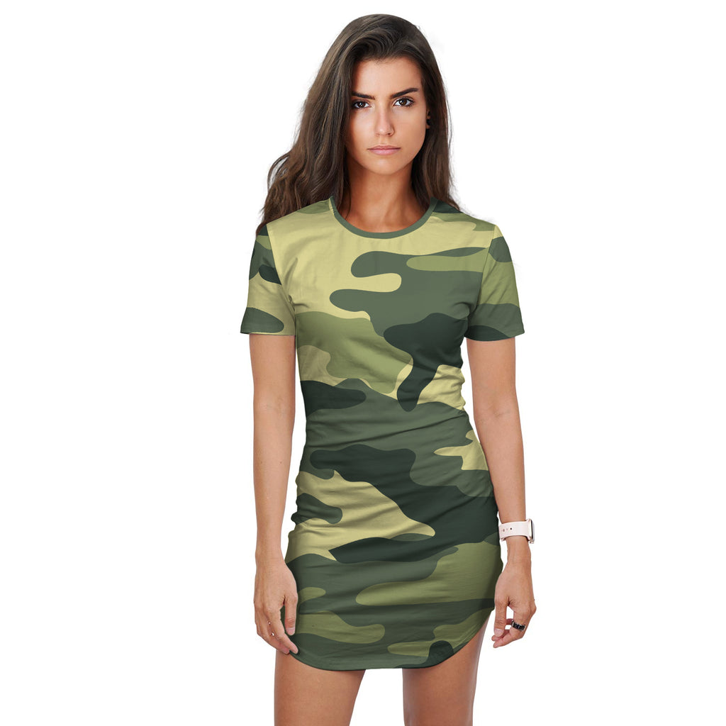 Estelle Green Mix Camo Print T-Shirt Dress