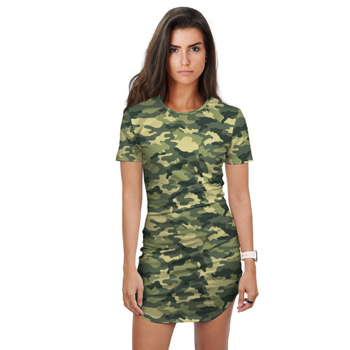 Ayele Green Mix Camo Print T-Shirt Dress