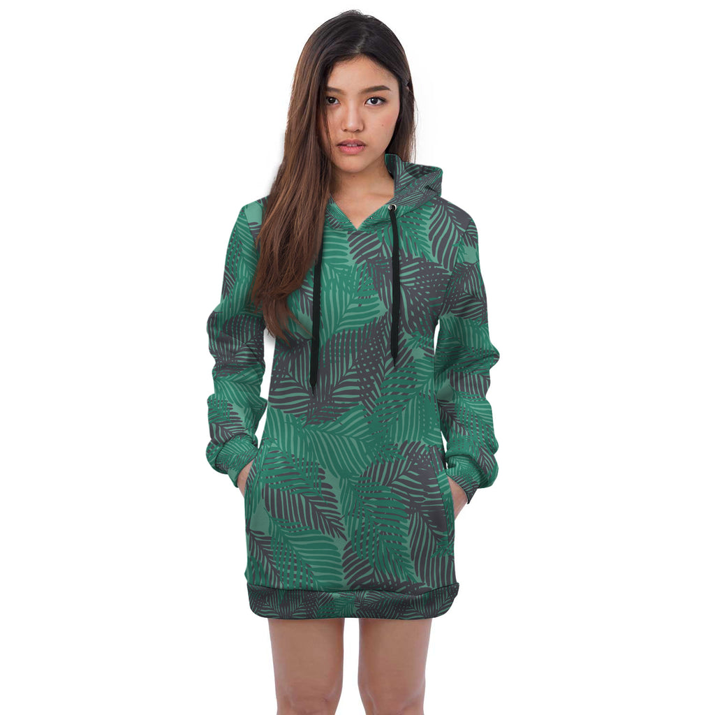Jacey Leafy Green Mix Hoodie Mini Dress