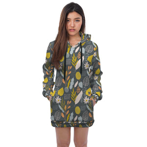 Carly Touch Of Spring Leafy All Over Print Hoodie Dress