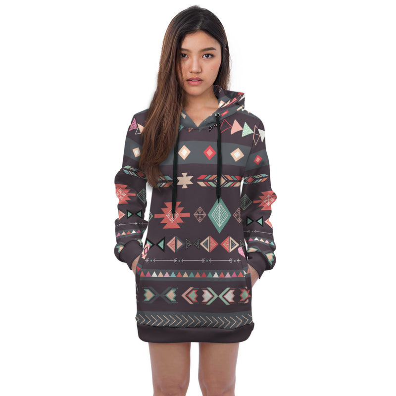 Ava Abstract Geometric Art All Over Print Hoodie Dress