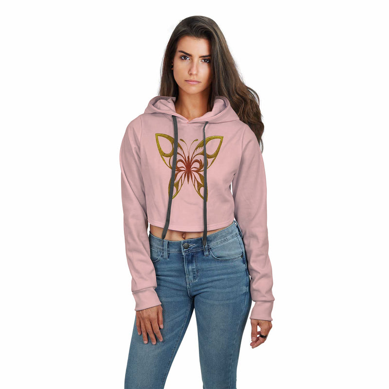 Chasity Butterfly Print Design Hoodie Crop Top