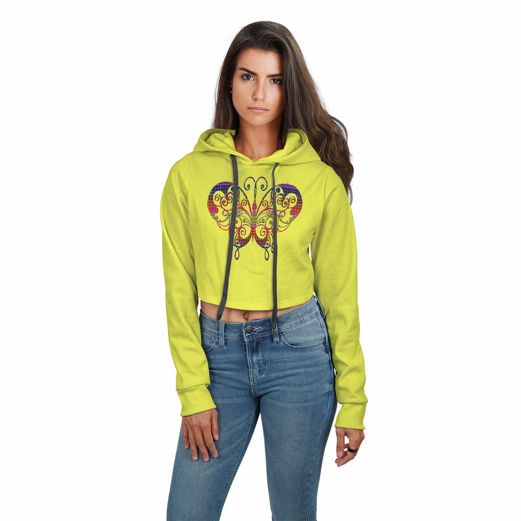 Chasity Colorful Butterfly Print Hoodie Crop Top
