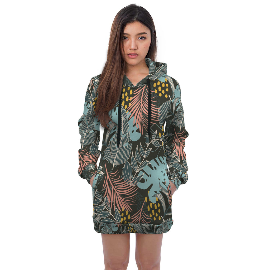Katelyn All Over Palm Print Hoodie Dress