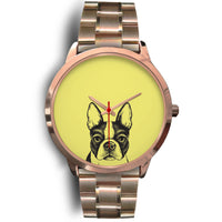 Meghan Cute Doggo Print Solid Steel Rose Gold Watch