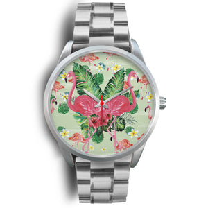 Brisa Flamingo Paint Silver Steel Japanese Movement Watch