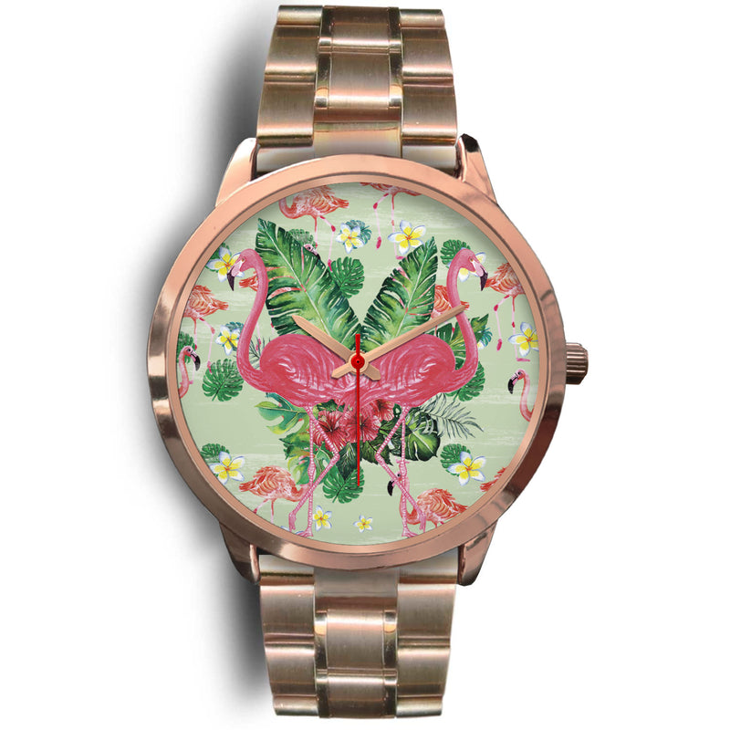Zaniyah Flamingo Paint Rose Gold Steel Japanese Movement Watch