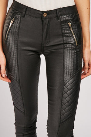Alissa Quilted Zipper Detail Contrast Leather Trousers-Woven Trends