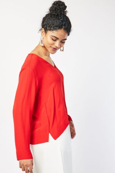 Taniya V Neckline Long Sleeve Slit Side Blouse-Woven Trends
