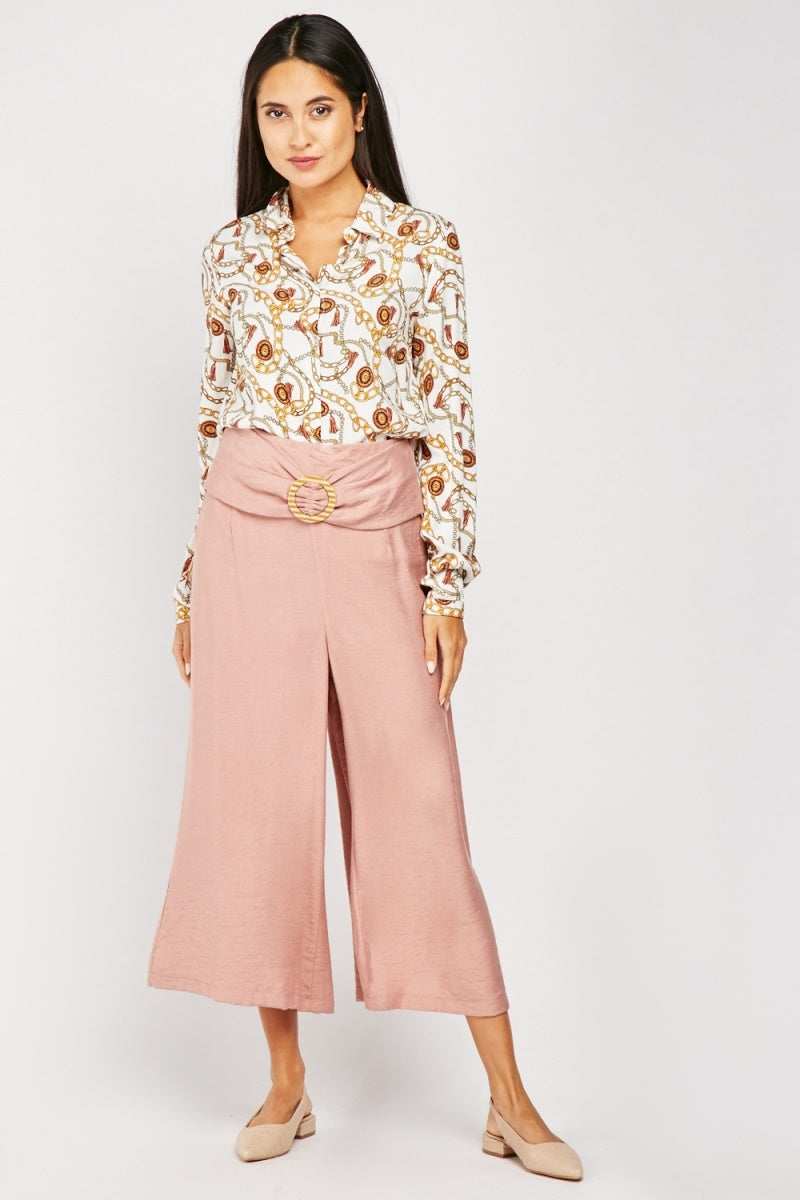 Decorative Buckle Front Culottes-Woven Trends