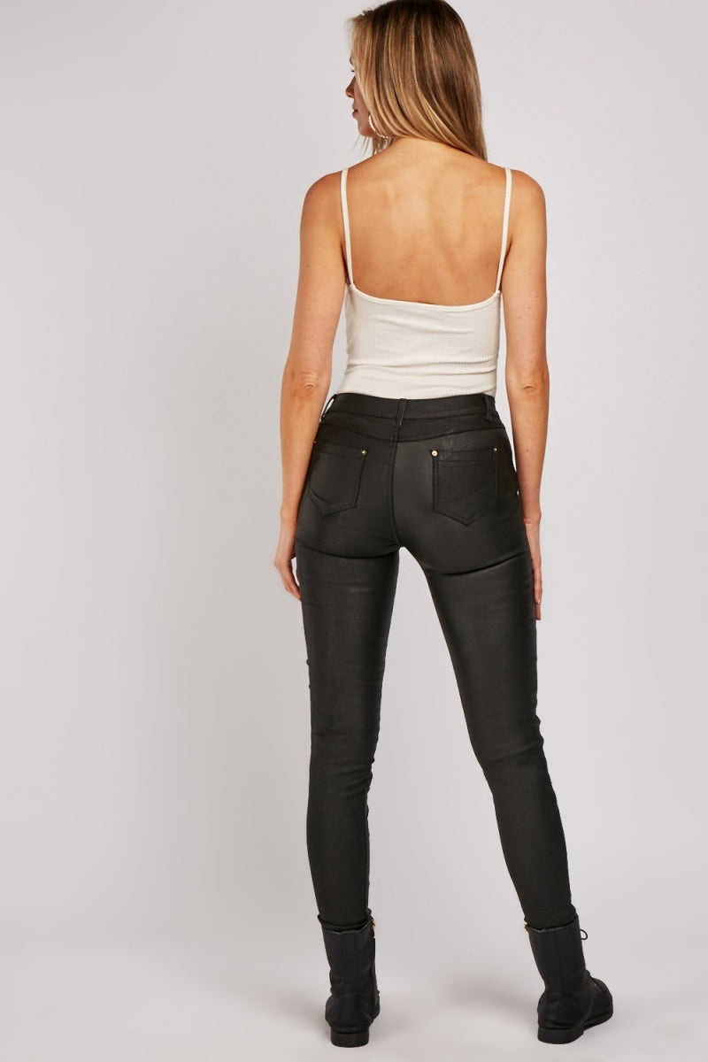 Alissa Quilted Zipper Detail Contrast Leather Trousers