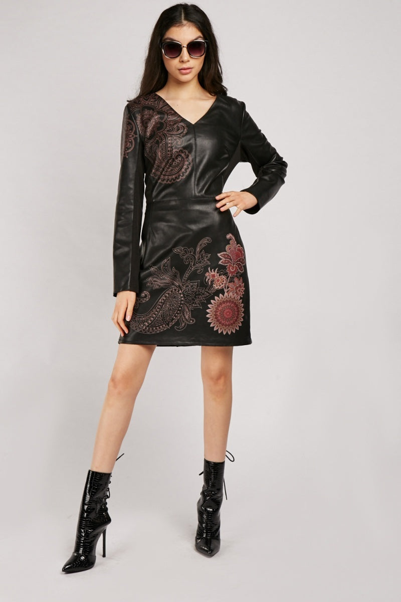 Caylee Floral Over Leather Dress-Woven Trends
