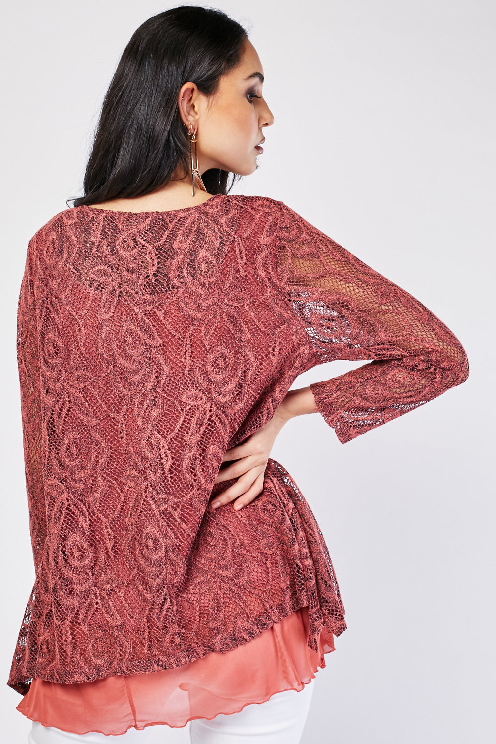 Kennedi Long Sleeve Lace Overlay Blouse Top-Woven Trends