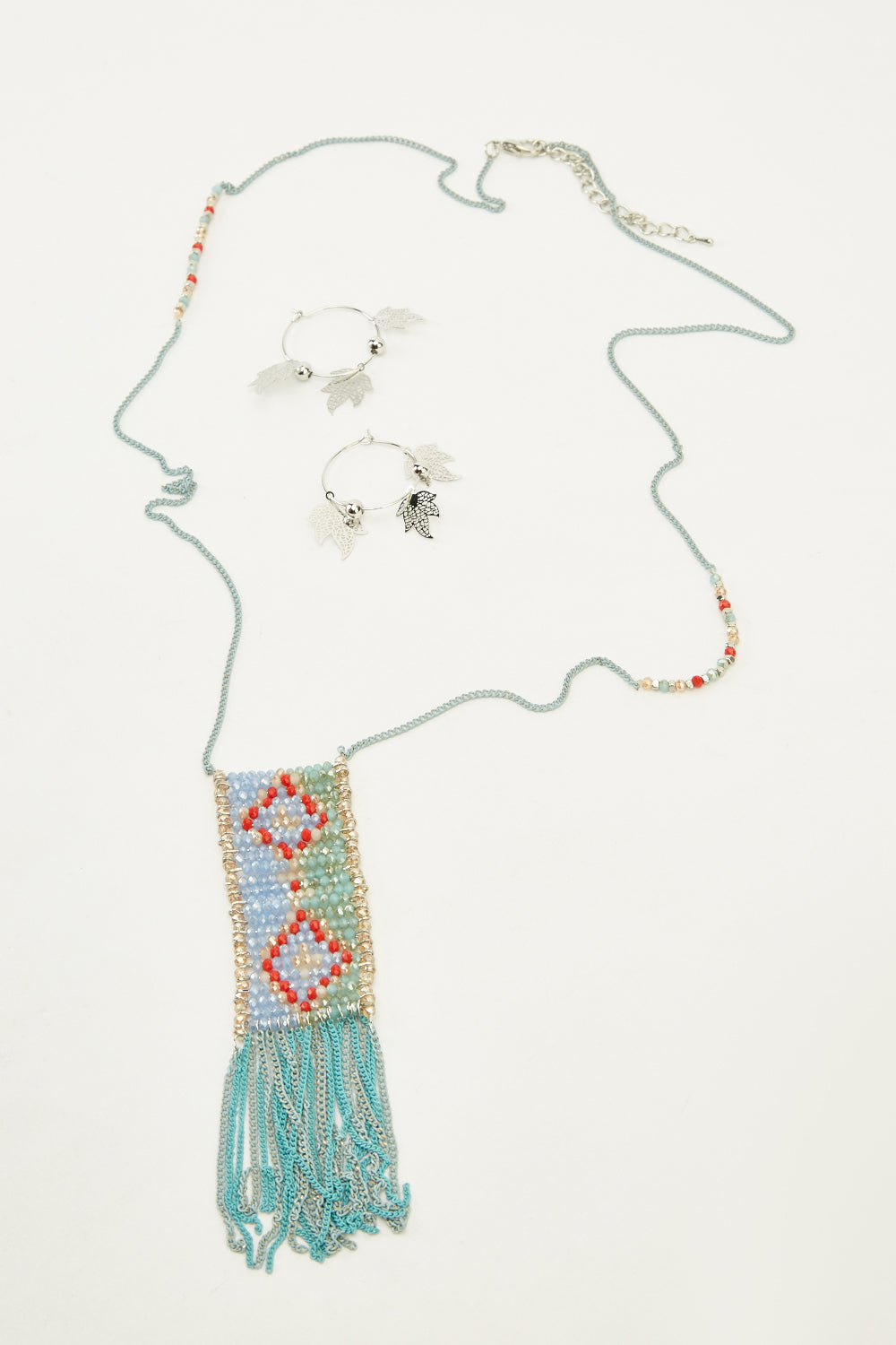 Tamia Beaded Necklace and Earrings Set-Woven Trends