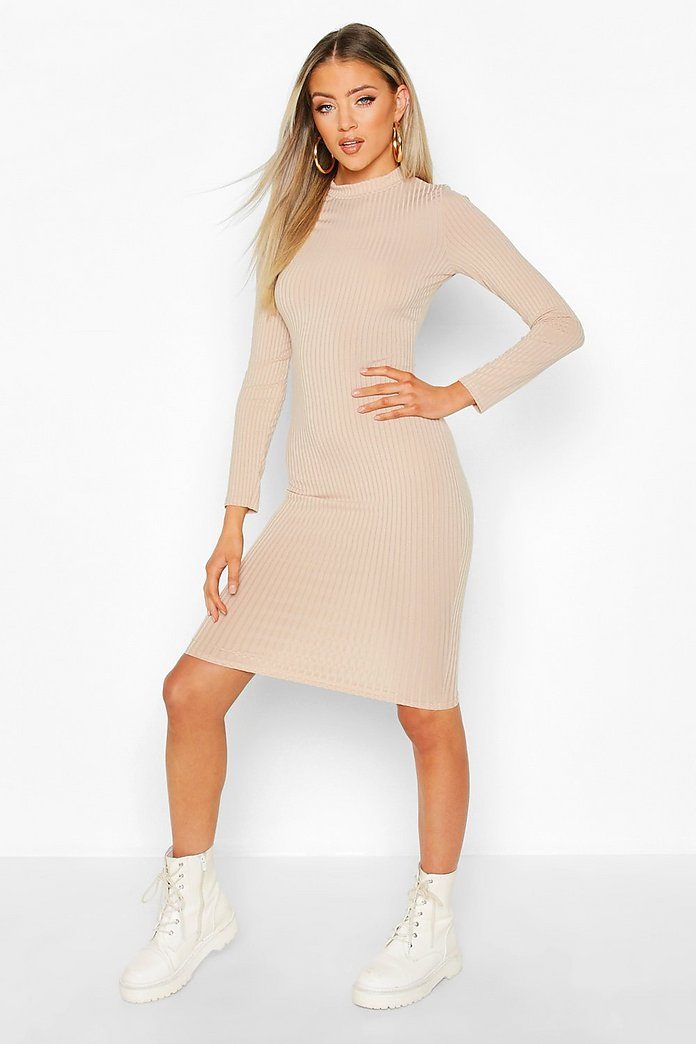 Dakota High Neck Ribbed Long Sleeve Midi Dress-Woven Trends