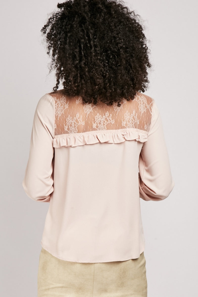 Clara Ruffle Pleat Lace Insert Shirt Blouse-Woven Trends