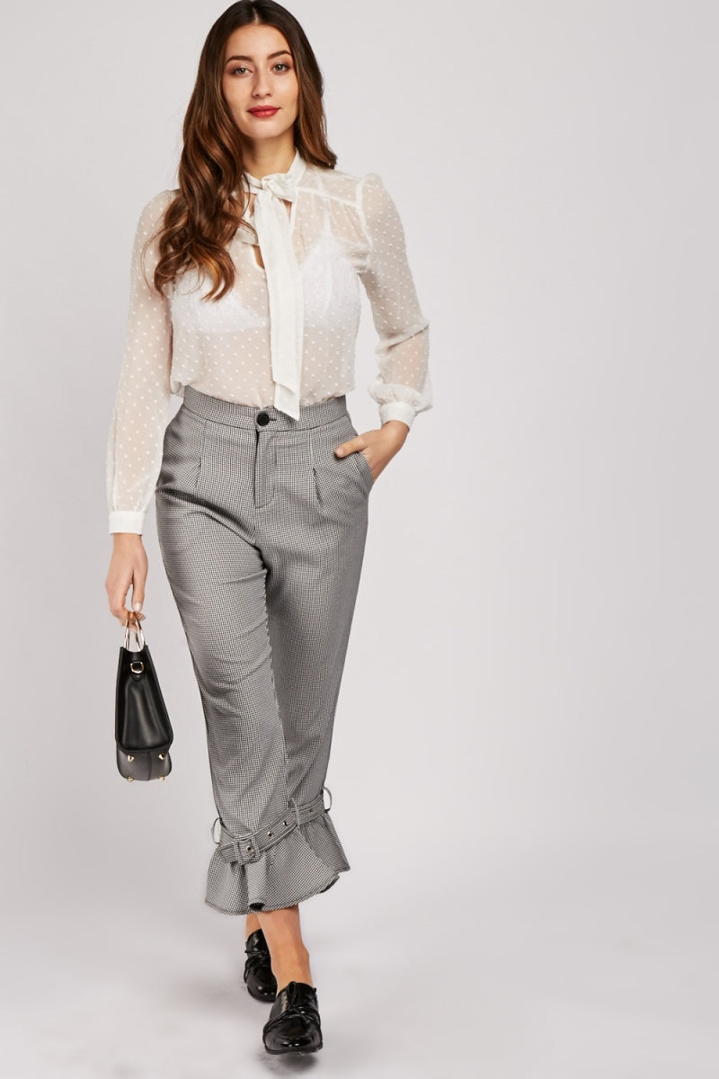 Alyssa Styled Buckle Ankle Hem Trousers-Woven Trends