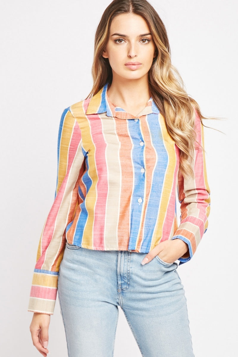 Tabitha Horizontal Stripe Multi Color Long Sleeve Shirt-Woven Trends