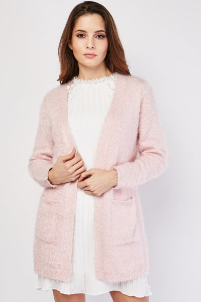 Jeminah Eyelash Knitted Open Front Cardigan-Woven Trends
