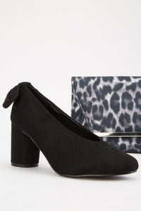 Reese Block Heel Bow Detailed Shoes-Woven Trends
