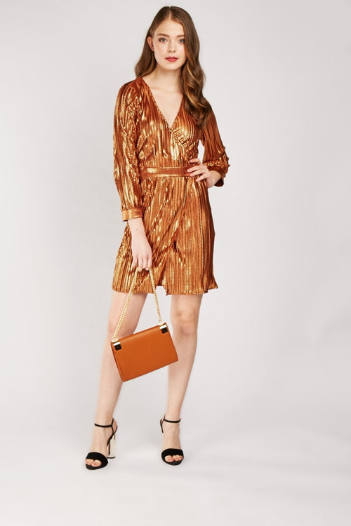 Natalee Metallic Effect Wrap Dress-Woven Trends