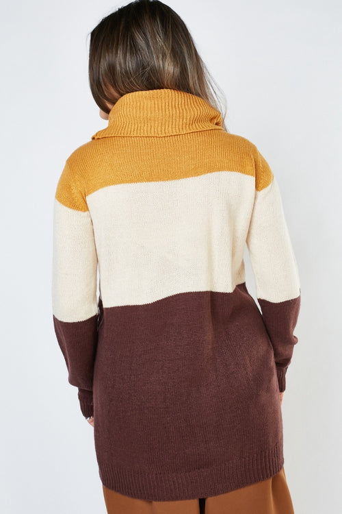 Anabel Block Knit Turtle Neck Jumper-Woven Trends