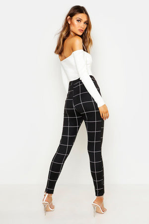 Leanna Pocket Detail Check Print Tapered Trousers-Woven Trends