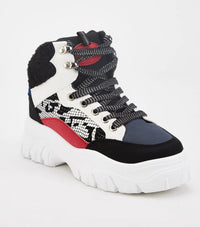 Daphne Block Contrast Lace Up Sporty Girl Trainers-Woven Trends