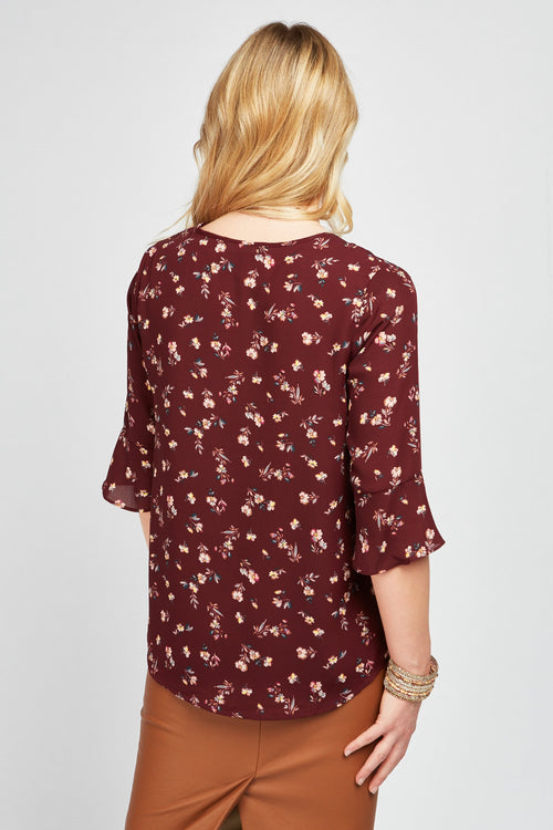 Dana Floral Print 3/4 Sleeve Blouse-Woven Trends