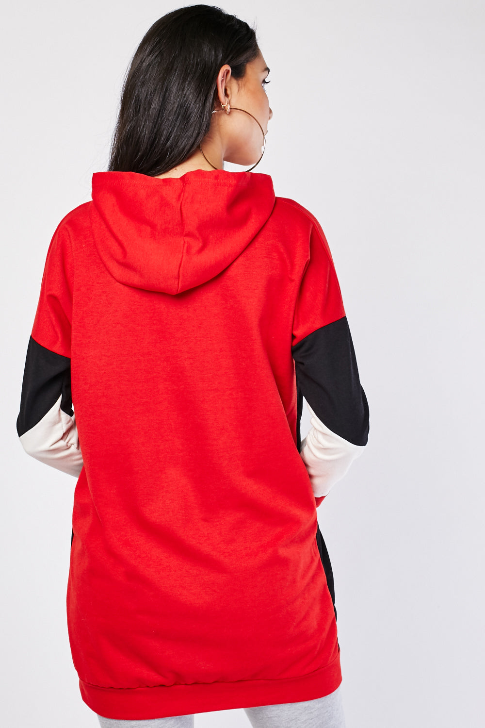 Nora Contrast Block Color Longline Hoodie Top-Woven Trends