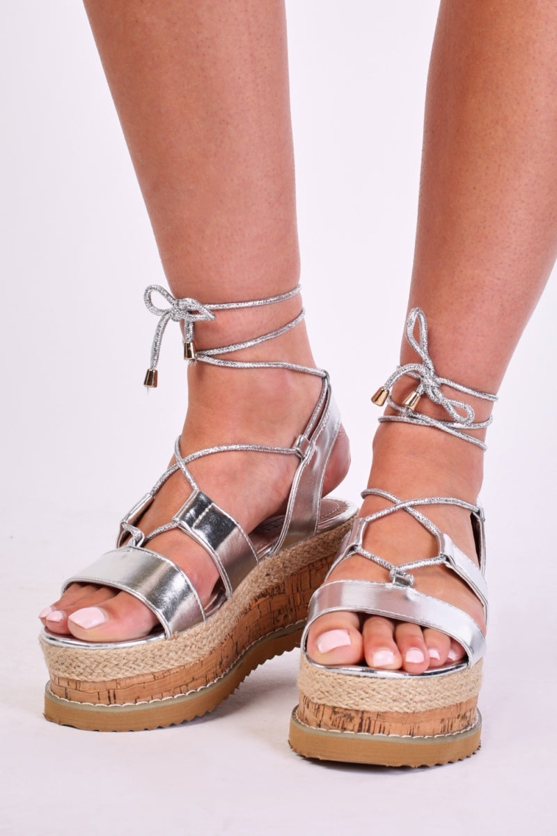 Nyla Tie Up Strap Wedge Sole Sandals-Woven Trends