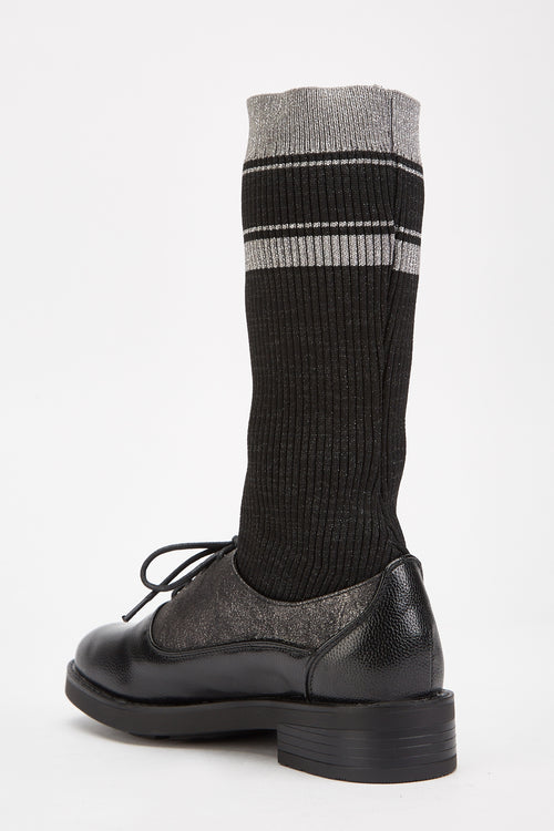 Kaelyn Socks Fitted Black Oxford Shoes-Woven Trends
