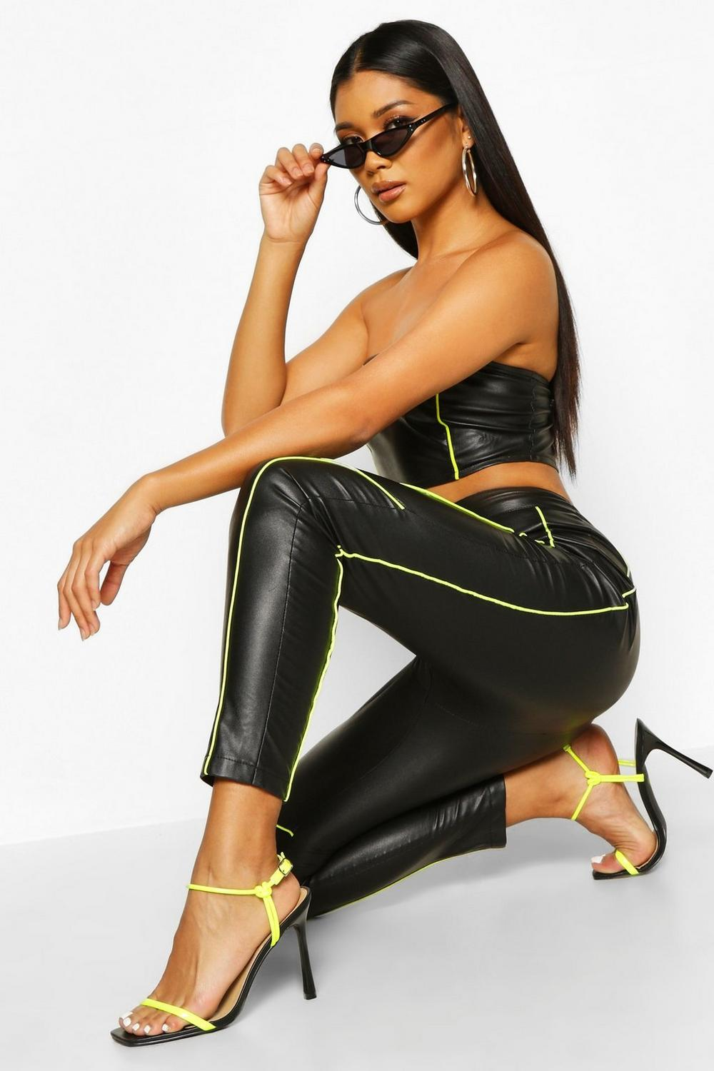 Cierra Neon Biker Trim Leather Effect Vinyl Trousers - Woven Trends