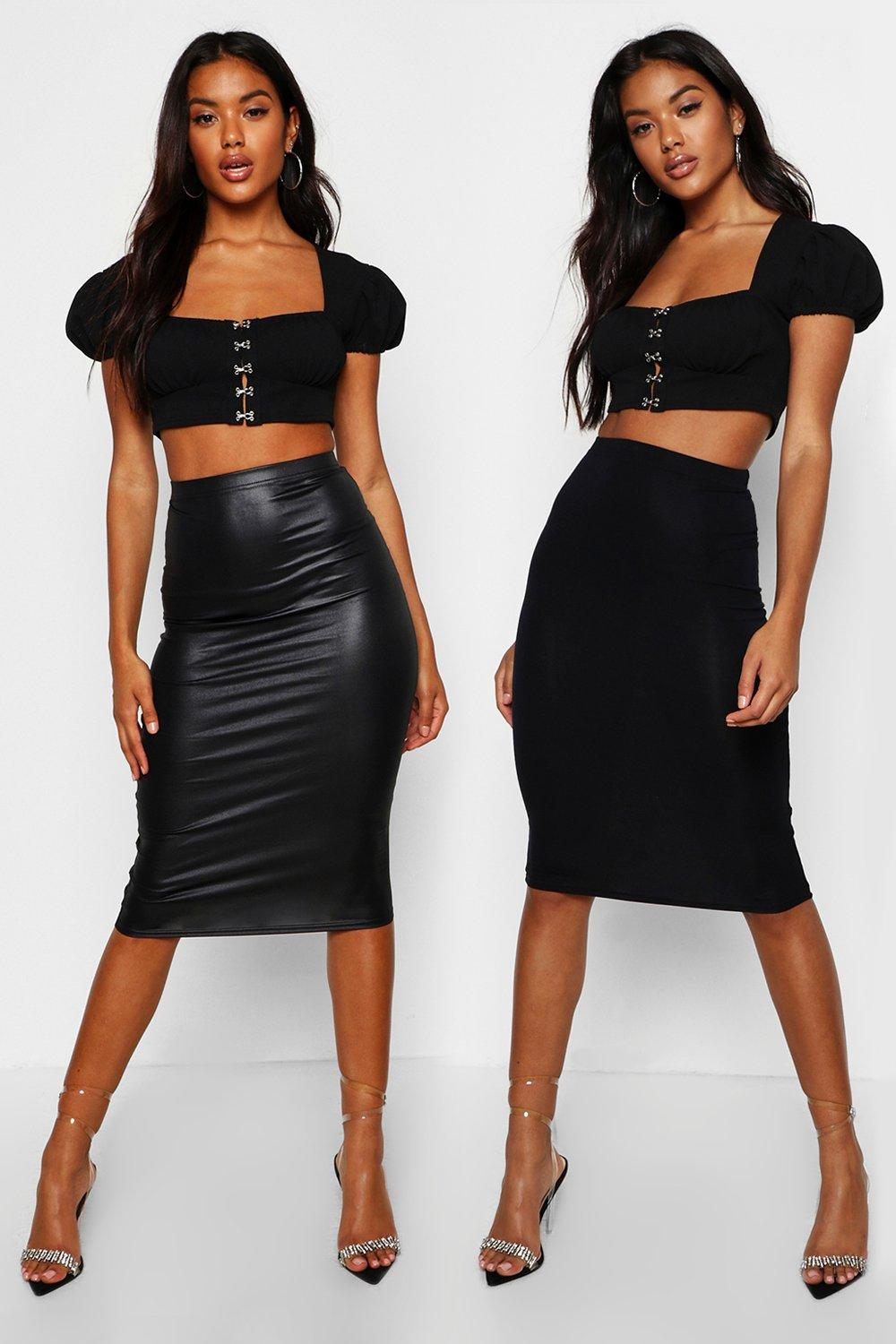 Kaylee 2 Piece Faux Leather and Jersey Midi Fit Skirt