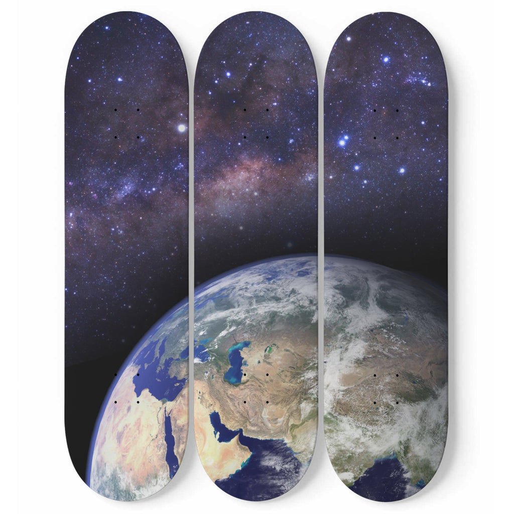 The Blue Planet 3 Piece Skateboard Wall Art Decor