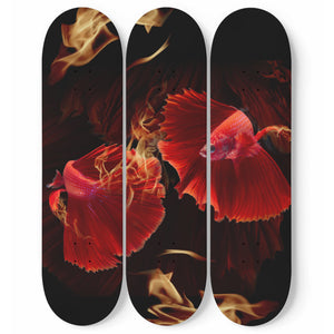 Fiery Red Fantail Goldfish 3 Piece Skateboard Wall Art Decor