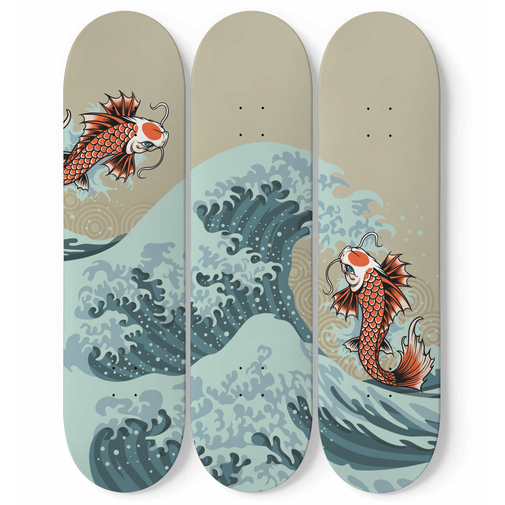 Surfing Fish Skateboard Wall Decor
