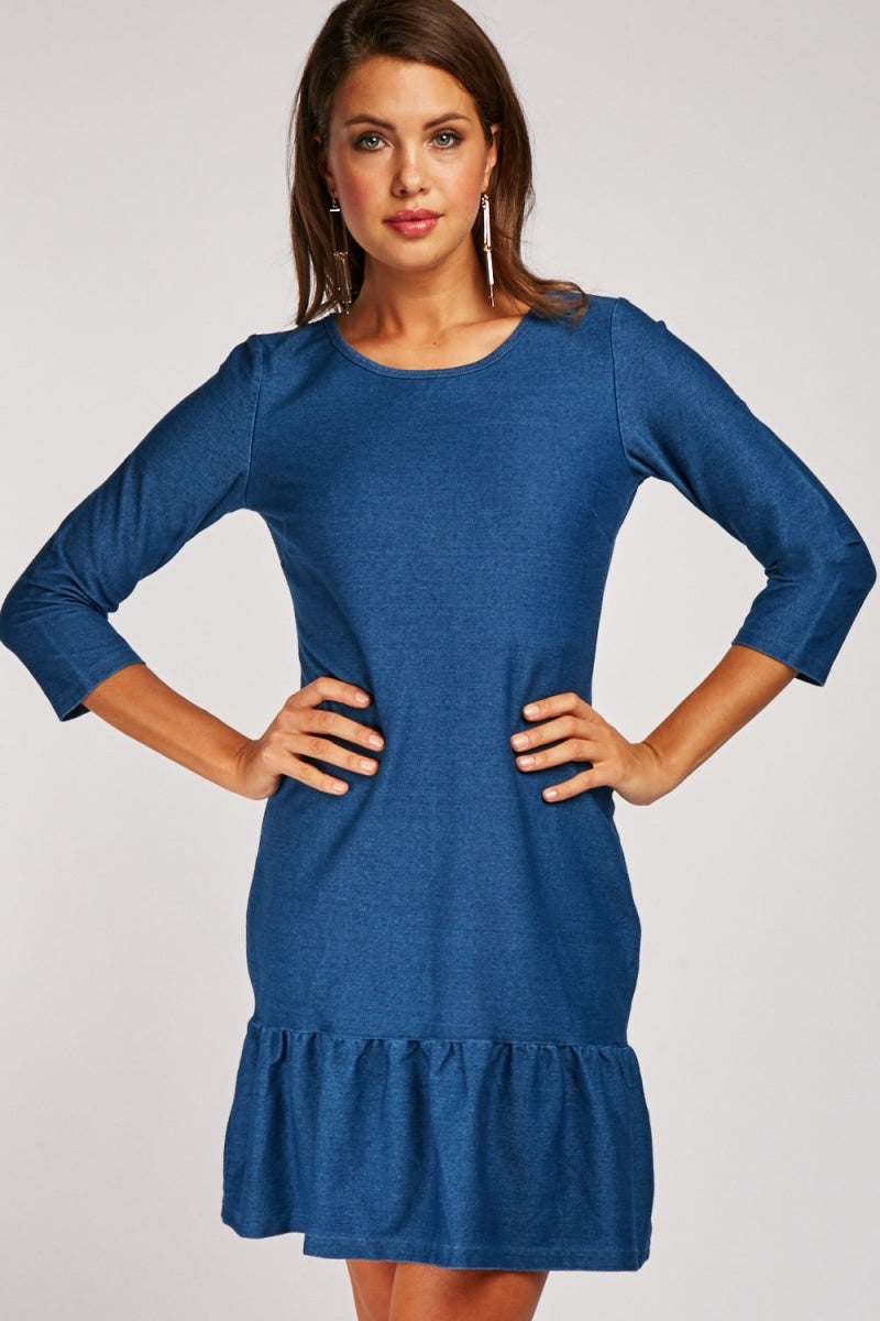Isabelle Ruffle Hem Shift Dress-Woven Trends