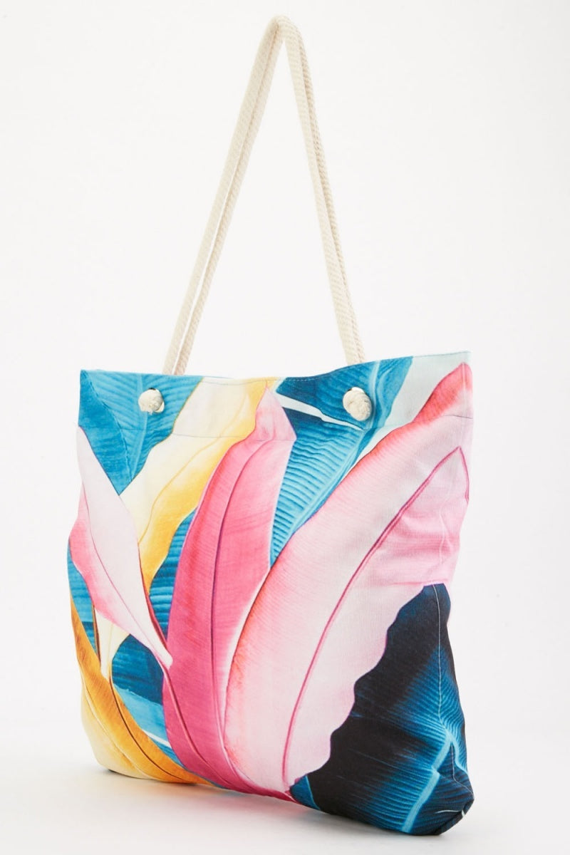 Taliyah Zip Top Colourful Print Tote Shopper Bag