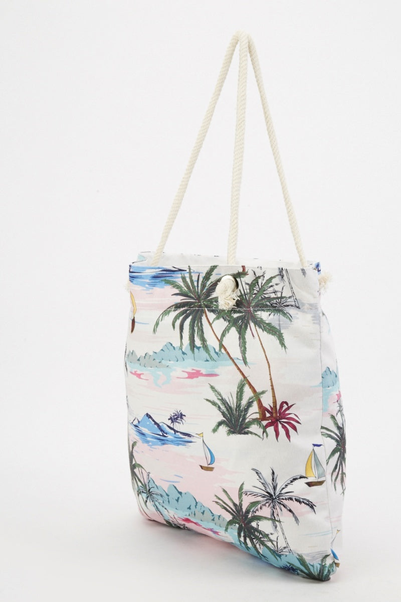 Salma Zip Top Beach Girl Palm Trees Print Design Tote Shopper Bag