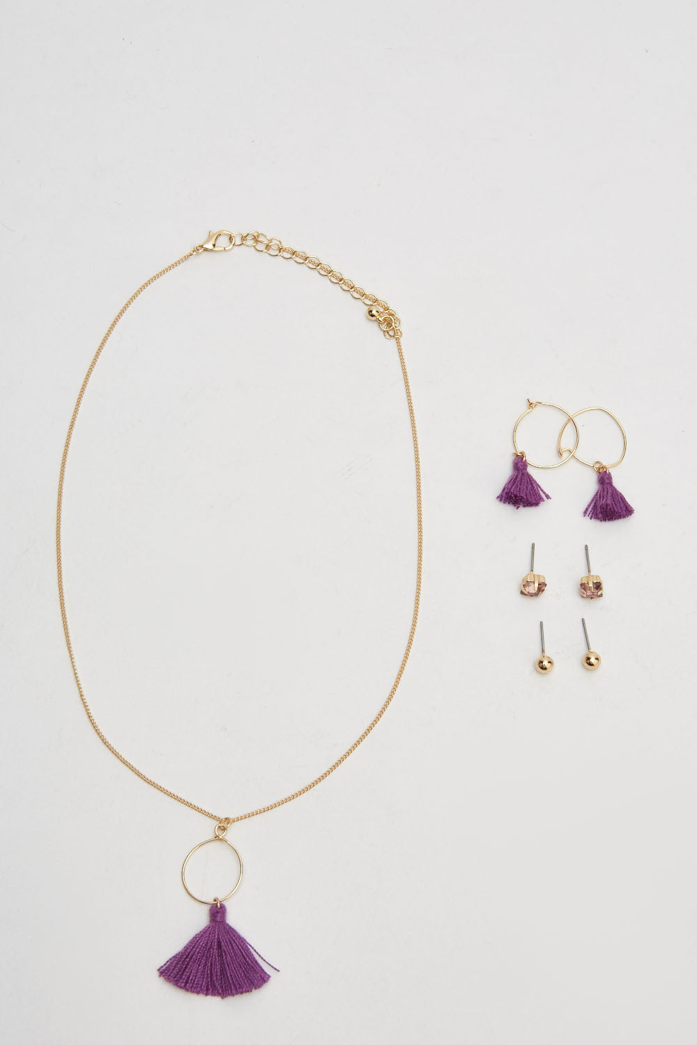 Caitlyn Pom Tassel Detail Drop Necklace and Hoop Earring Set