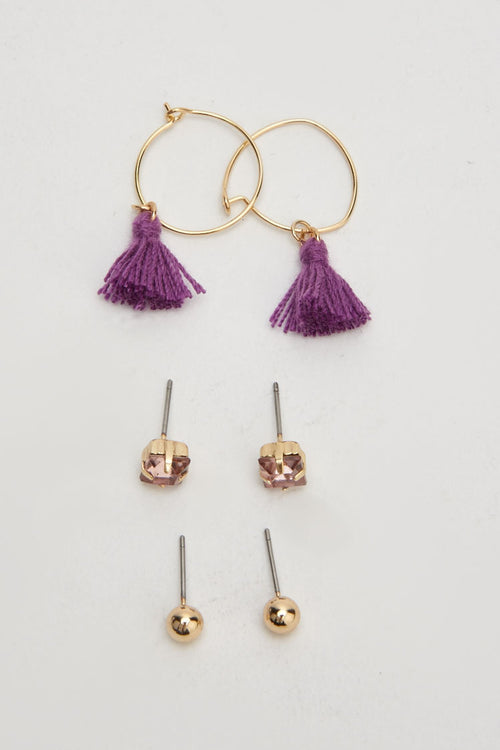 Caitlyn Pom Tassel Detail Drop Necklace and Hoop Earring Set-Woven Trends